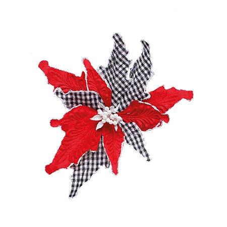 Poinsettia Natalina Vermelha e Xadrez - 20cm