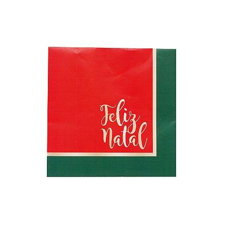 Guardanapo Feliz Natal Vermelho com Borda Verde - 32,5cmx32,5cm