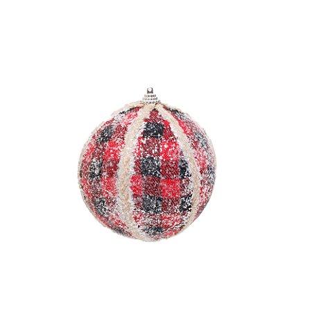Bola de Natal Xadrez Vermelho e Preto com Glitter - 12cm
