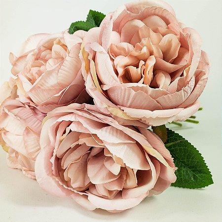 Buque 6 rosas rosê