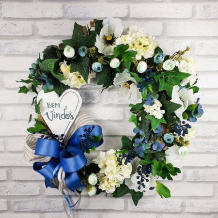 Guirlanda de Flores Azul - Bem Vindos