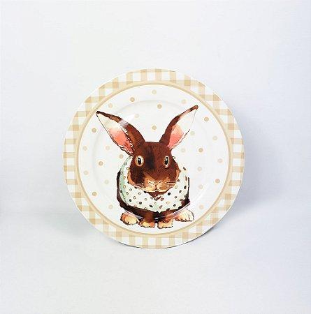 Prato de Cerâmica Pequeno - Coelho / Bege