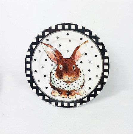 Prato de Cerâmica Pequeno - Coelho / Preto