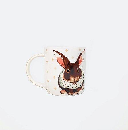Caneca de Cerâmica - Coelho / Bege