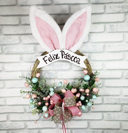 Guirlanda de Páscoa - Feliz Páscoa / Orelhas Rosa