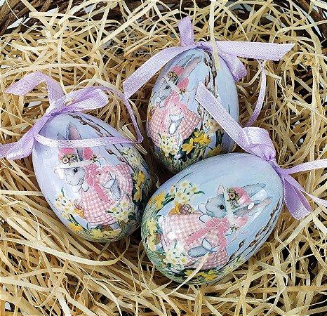 Trio de Ovos Decorados - Lilas