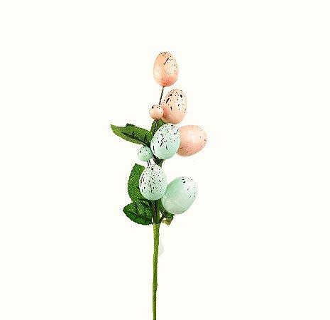 Ramo de Páscoa Ovos - Rosa/Azul