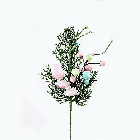 Ramo de Páscoa - Ovos Verde/Rosa/Azul