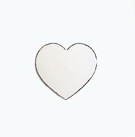 Placa de Madeira - Coração Branco