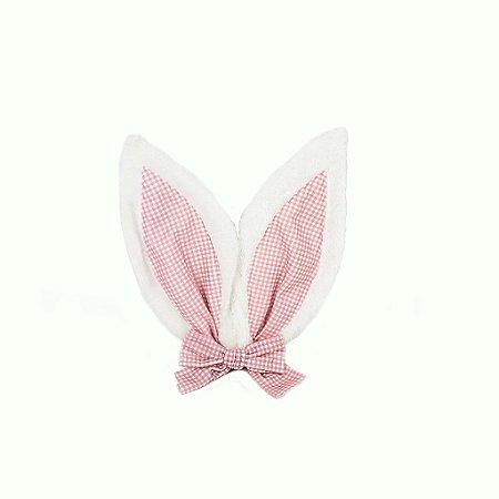 Enfeite de Páscoa - Orelhas Xadrez/Rosa