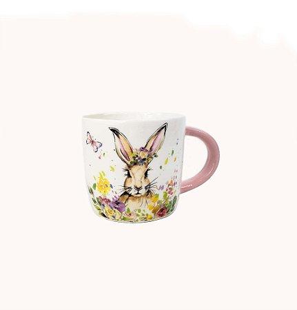 Xícara de Cerâmica - Coelho/Rosa Flores