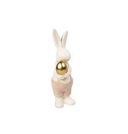 Coelho de Cerâmica Macho - Ovo Dourado