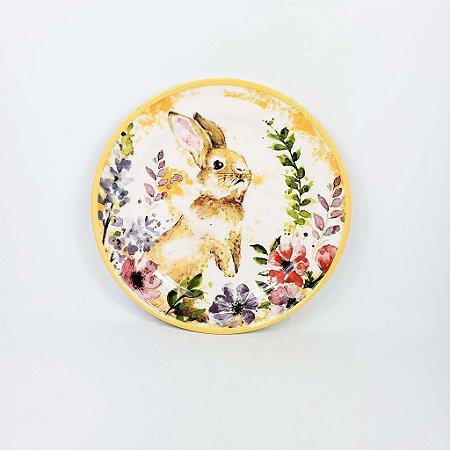 Prato de Cerâmica - Coelhas/Amarelo Flores