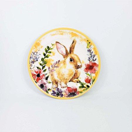 Prato de Cerâmica - Coelho/Amarelo Flores