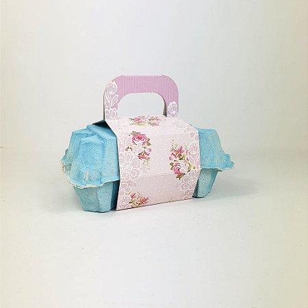 Caixa Para Ovos -  Flores/Azul