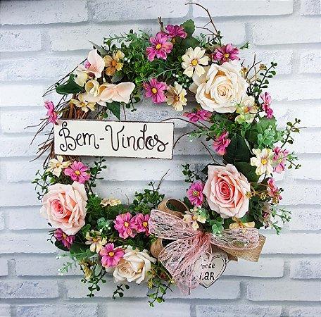 Guirlanda de Flores Rosa - Bem Vindos