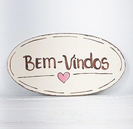 Placa Oval de Madeira Provençal Bege Feita a Mão - Bem-Vindos 15cmx8cm