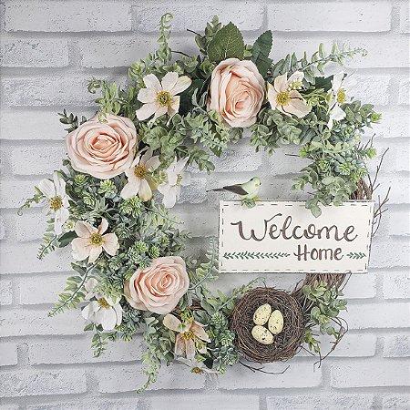Guirlanda de flores - Welcome Home/Salmão