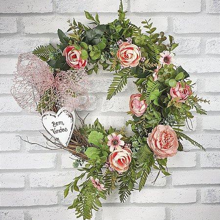 Guirlanda de Flores -  Rosa/Bem Vindos