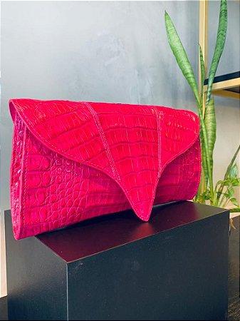 Bolsa Clara em Jacaré Pink