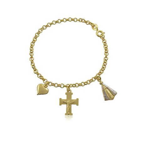 Pulseira banhada a ouro com pingentes de coração, cruz e Nossa Senhora Aparecida
