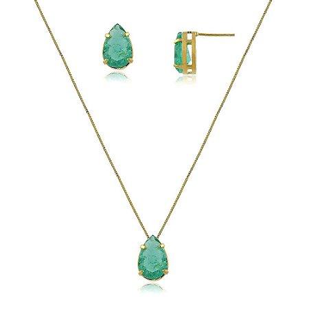 Conjunto brinco e colar pedra verde água banhado a ouro