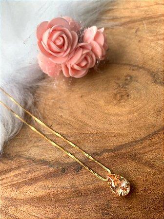 Colar veneziana com gota de zircônia salmão banhada a ouro