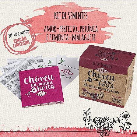 Kit de Sementes - Choveu na Minha Horta (Amor-Perfeito, Petúnia e Pimenta)