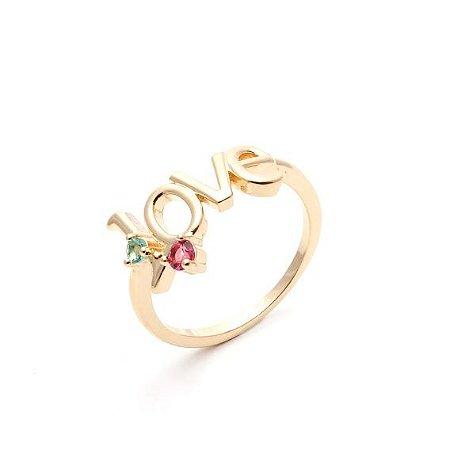 Anel Love Pedras Dourado
