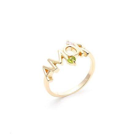 Anel Amor Pedras Dourado