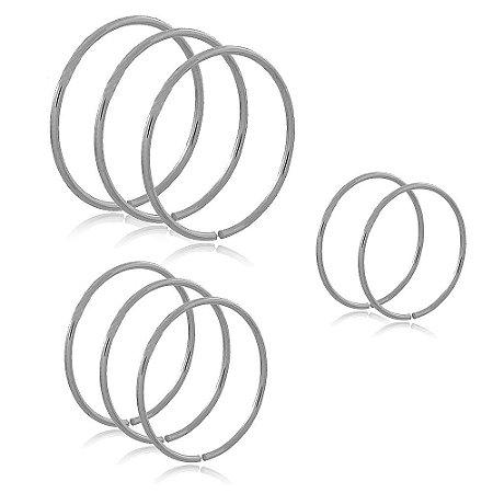 Kit 8 Anéis Lisos Branco