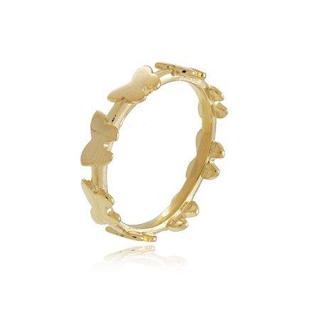 Anel Borboletas Dourado