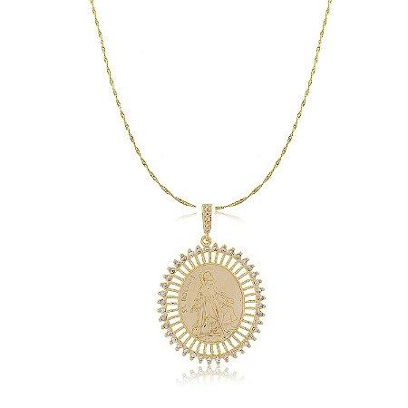Colar Medalha São Roque Cristal Dourado