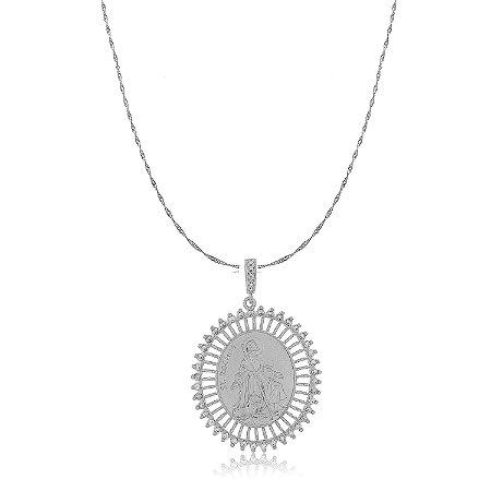 Colar Medalha São Roque Cristal Branco