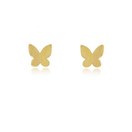 Brinco Mini Borboleta Liso P Dourado