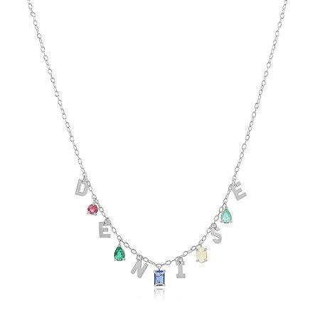 Colar Personalizado Colorido de 6 à 9 Letras Branco