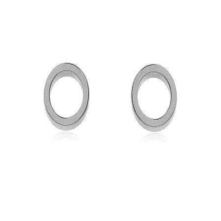 Brinco Oval 3D Branco