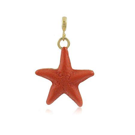 Pingente Estrela do Mar Coral Dourado