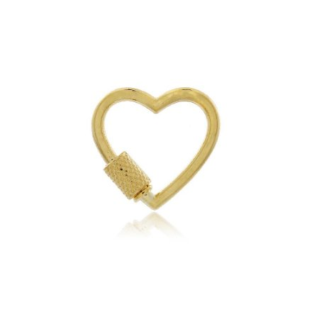 Pingente Mosquetão Coração Dourado