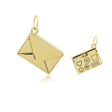 Pingente Envelope Dourado
