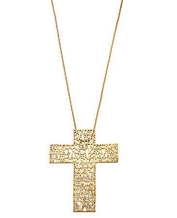 Colar Crucifixo Pai Nosso Dourado