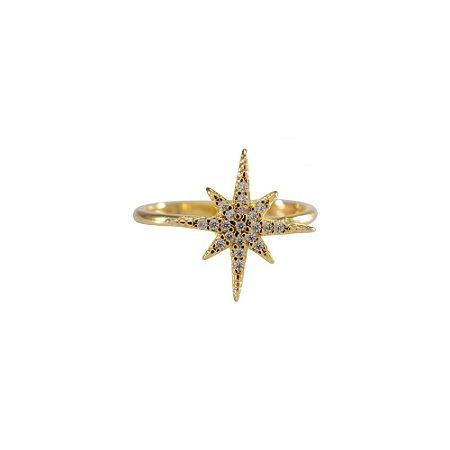 Anel Star Cravejado Dourado