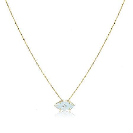Colar Orly Pedra Azul Claro Dourado