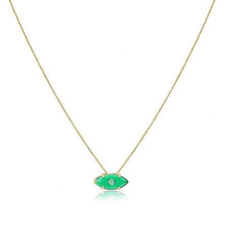 Colar Orly Pedra Verde Esmeralda Dourado