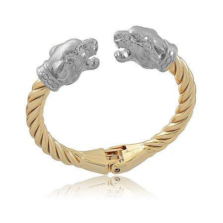 Bracelete Leão Dourado Branco
