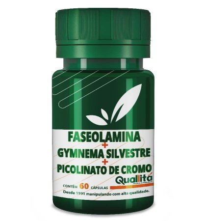 Faseolamina 500mg + Gymnema Silvestre 100mg + Picolinato de Cromo 150mcg (60 cápsulas)