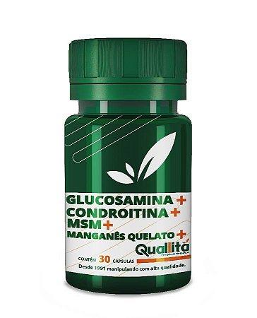 Glucosamina 1500mg + Condroitina 1200mg + MSM 250 mg + Manganês Quelato 3 mg- (30 Cápsulas)