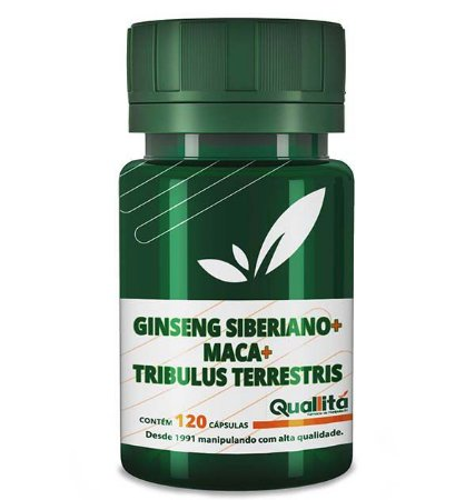 Ginseng Siberiano 100mg, Maca 500mg, Tribulus Terrestris 150mg (120 Cápsulas)