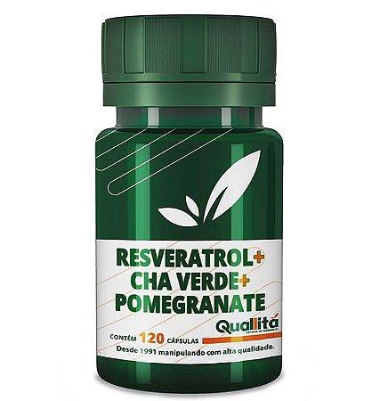 Resveratrol 10mg + Cha Verde 350mg + Pomegranate 400mg (120 Cápsulas)