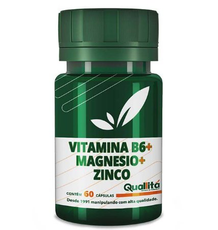 Vitamina B6 3,5mg + Magnesio 150mg + Zinco 10mg (60 Cápsulas)